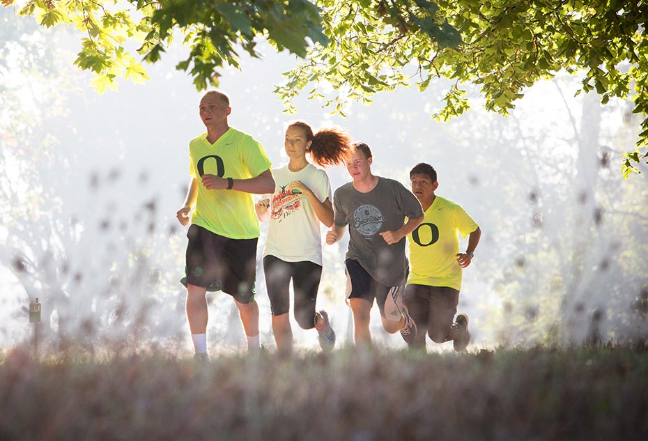 Students running near campus